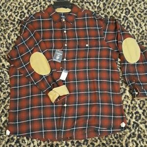 Cremieux Elbow Patch Flannel Shirt RED NEW Twill